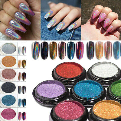 DIY Nail Glitter Powder Shiny Neon Pigment Manicure Mirror Holographic Dust Tips