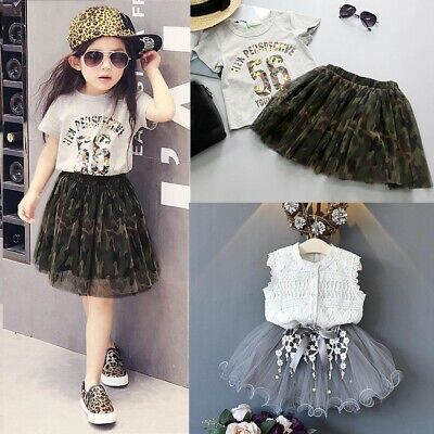 Toddler Kids Baby Girls Outfits Clothes Lace Shirt+Bowknot Tulle Skirt 2PCS Set