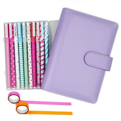 Purple Leather Spiral Dotted Grid Bullet Journal with Bujo Starter Kits for Girl