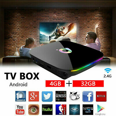 Q-Box Plus Quad Core 4GB+32GB Android 9.0 TV 4K HD Smart Media Player WI-FI HDMI