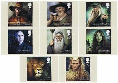 """Magical Realms (with """"Narnia"""") - Complette 8 Stamp Cards - Great Britain 2011"""
