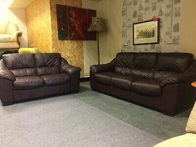 Violino Brown Leather Sofa Suite 3 2 Seater Sofas