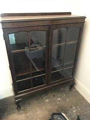 Antique Vintage Mahogany Glazed Bookcase Display Cabinet