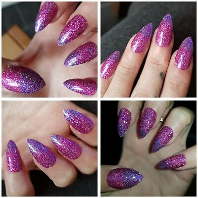 SPARKLY PARTY NAILS Pink/Purple HOLOGRAPHIC OMBRE Stiletto Nails x 20