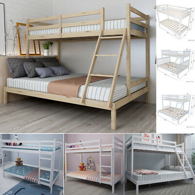 3FT Single 4FT6 / 4FT Double Triple Sleeper Bunk Bed Wooden Frame for Kids Adult