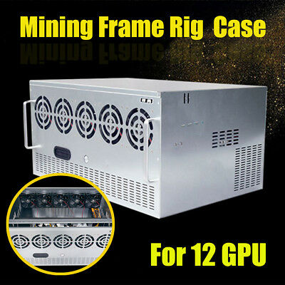 DIY Open Air Mining Crypto Currency Miner Frame Rig Case For 12 GPU ETH Ethereum