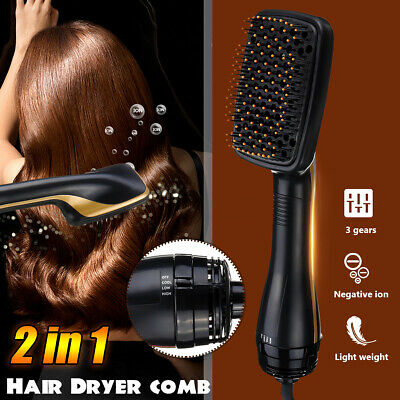 AU 2 IN 1 Salon One Step Hair Dryer & Volumizer Comb Brush Straightener Curler