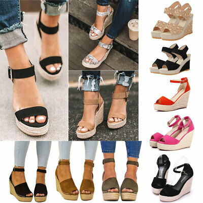 Women's Wedges Platform Sandals High Heels Open Toe Ankle Strap Buckle Shoes