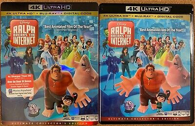 Disney Ralph Breaks The Internet 4K Ultra Hd Blu Ray 2 Disc + Slipcover Sleeve