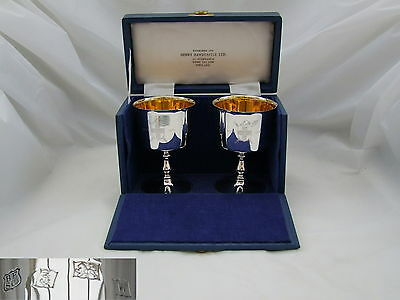 RARE CASED PAIR of QE II HM STERLING SILVER GOBLETS