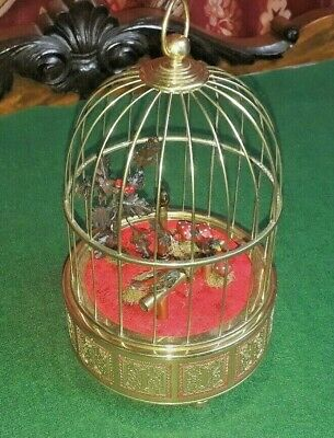 Mid 20th Century 3 Singing Bird Box / Cage Automaton Music Box (Watch Video)