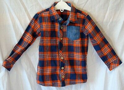 Baby Boys George Blue Orange Check Casual Long Sleeve Shirt Age 12-18 Months