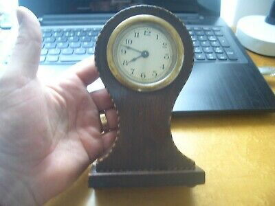 Mini Edwardian Mahogany Baloon Clock  From A House Clearance Ex Antique Dealer
