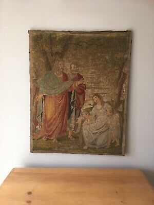 Large Antique Tapestry Religious Wall Hanging