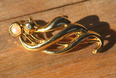 Vintage Gold Plated Brooch Pin Gold Retro NOS New Old Stock 80s Pearl abstract