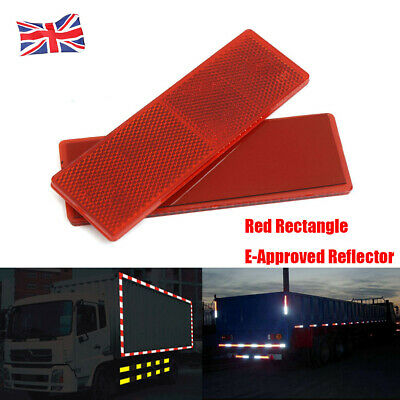 New 2x Rectangle Reflector Trailer Caravan Lorry Van Truck Car Pair Sticky Red