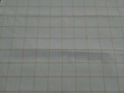 Square Aida white with beige embroidered lines