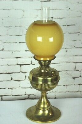 Vintage Brass Duplex Oil Lamp with Amber Glass Shade [5131]