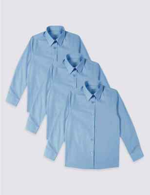Marks & Spencer 3 Pack Girls' Easy to Iron Blouses Blue UK Size 15-16 Years