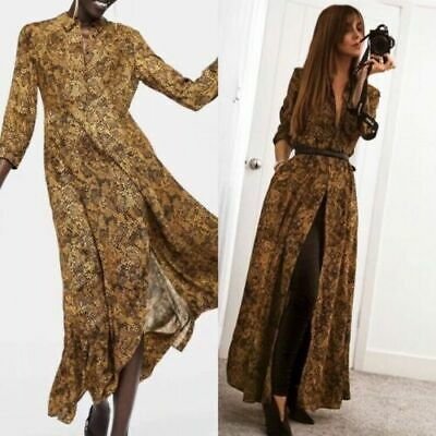 74f5ed28 Bnwt Zara Camel Snake Snakeskin Print Long Shirt Dress Size Small Bloggers  Fav