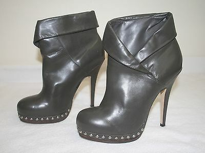 0d2fa69b997 Womens ALDO Gray Leather Silver Studs Ankle Boots High Heel Booties Size 40  US 9