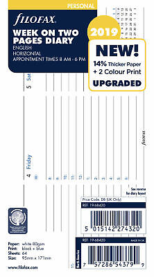 Filofax 2019 Personal Size Diary - Week On 2 Pages HORIZONTAL Layout - £3.95