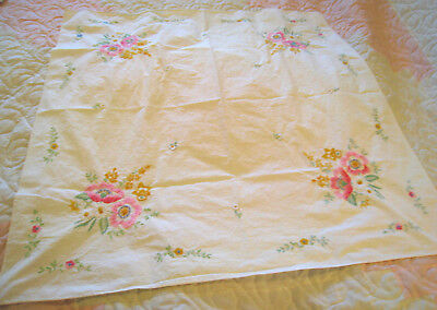 """Vintage Tablecloth Cream Hand Embroidery Floral Colorful 31"""" x 30"""""""