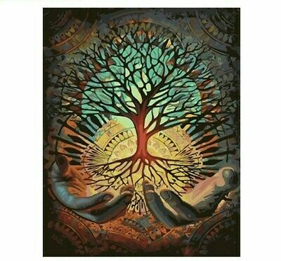 Paint By Numbers DIY Kit Tree of Life Hands Psychedelic 40CMx50CM Canvas