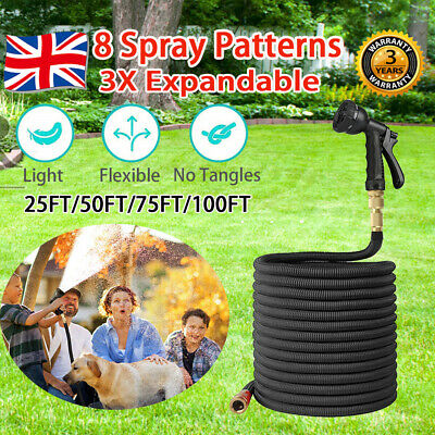 75FT-100FT Elastic Garden Hose Pipe 3X Expandable With Spray Gun Brass Fitting
