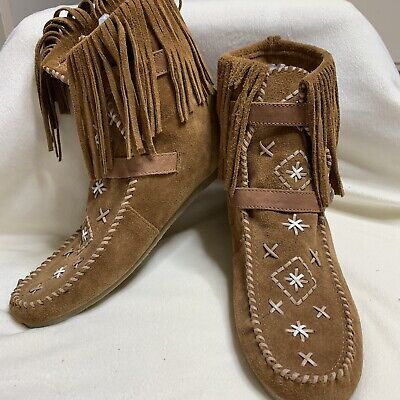 52d1020db Sam Edelman 10 Suede Fringed Katherine Moccasin Ankle Boots Booties Free  People