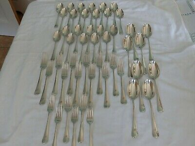 48 Mappin & Webb Rat Tail Silver Plate Forks Spoons & Table Spoons