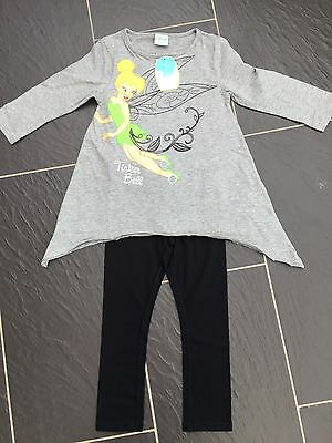 Disney Tinkerbell Fairies Outfit Grey Tunic Top T-Shirt Black Leggings 3-4 Years