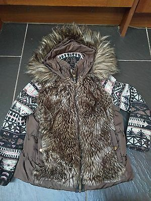River Island Girls Faux Fur Hooded Brown Pink Coat Jacket 8 Years