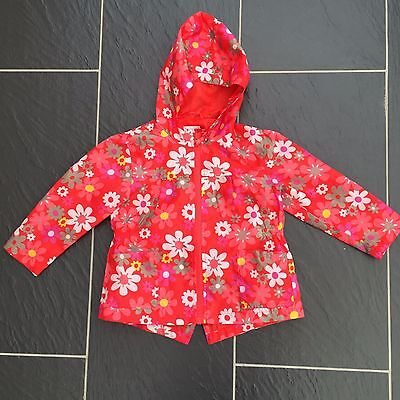 Next Girls Light Weight Red Floral Waterproof Hooded Coat 2-3 Years
