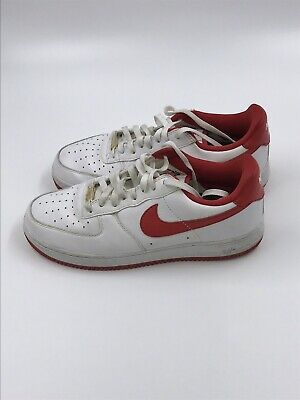 the latest dceb1 51a1b Classic Nike Mens Air Force 1 Low White Red Sneakers 83 Size 10