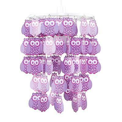Children's Purple Owl Droplet Easy Fit Ceiling Pendant Light Fitting Lamp Shade