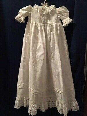 WONDERFUL Antique White Ribbed Cotton Eyelet Baby Christening Baptism Gown Dress