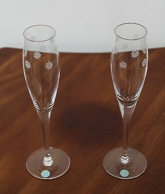 c0ff01d4733 Tiffany   Co Crystal Etched Flowers Flutes ~ Set Of 2 With Tiffany Label