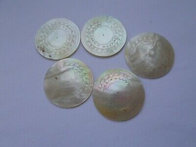 5 antique Chinese mother of pearl gaming counters or chips - lot 2