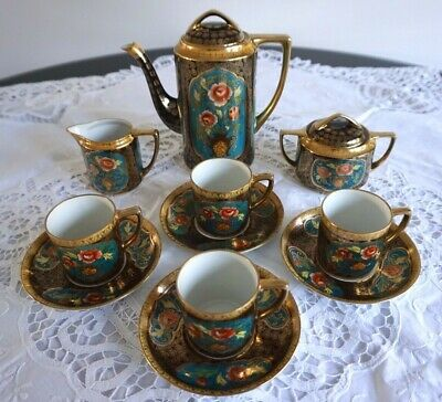 Antique / Vintage Noritake Porcelain Coffee Set with 4 Coffee Cans Cups - 11 pcs