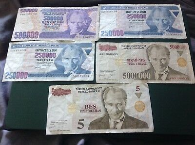 Collection of a Turkey Lirasi banknotes