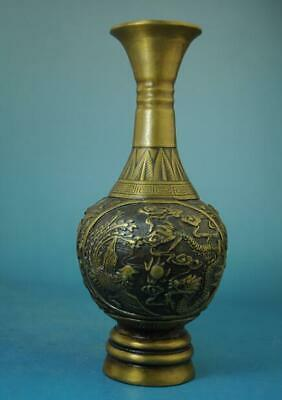 Chinese Old Handmade Copper Dragon And Phoenix Statue Vase/qianlong Mark
