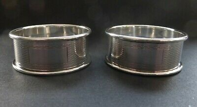 Matching Pair Silver Napkin Rings Birmingham 1959 Walker & Hall Vacant Cartouche