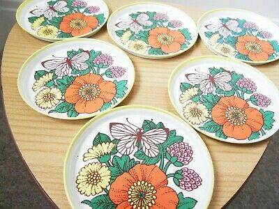 Stacking Set 6 Vintage 60s 70s Enamel Tin Metal Coasters Floral Orange Kitsch