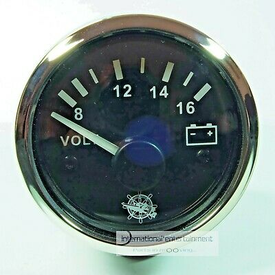 VOLTMETER  INSTRUMENT GAUGE 12V  AUTO  8-16V  52mm  Chromring metall