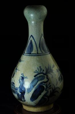 chinese old hand-made blue and white porcelain hand painted character vase
