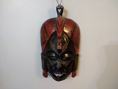 Hand Carved Wood African Style Decorative Wall Hanging Mask 22cm