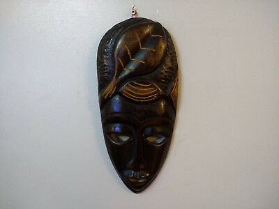Hand Carved Wood African Style Decorative Wall Hanging Mask 30cm