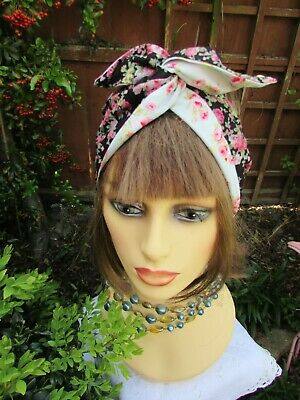 Black /Pink Floral Retro Rockabilly Wide Wired Headband reverse duck egg floral