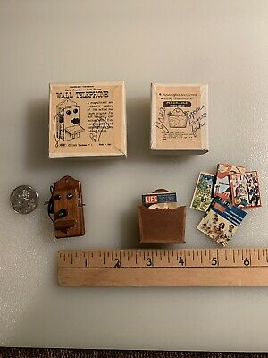 Shackman NY #3389 Hardwood Early American Doll-House Wall Phone & Magazine rack
